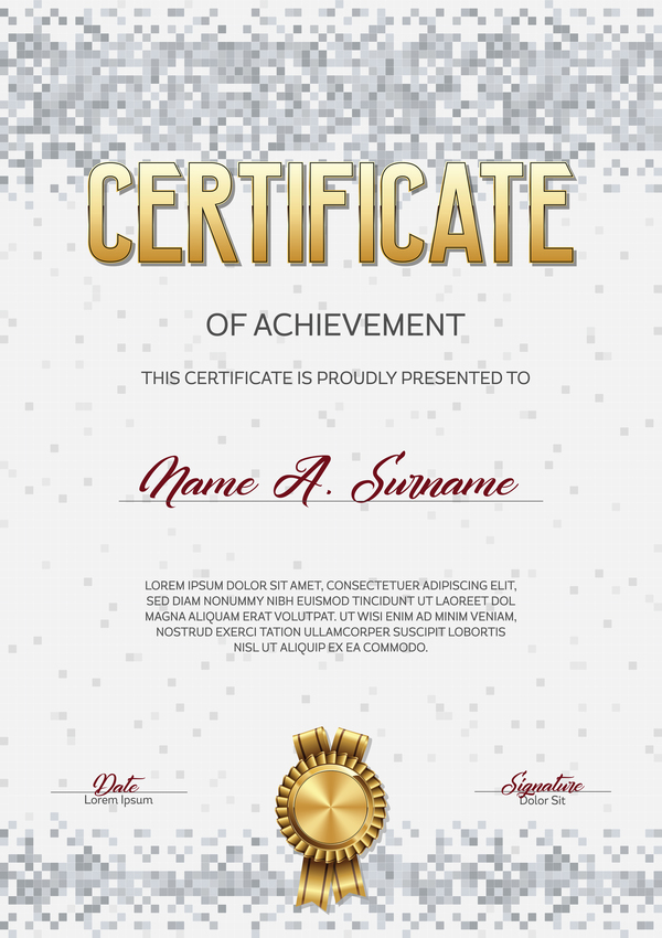 pixelated grå certifikat