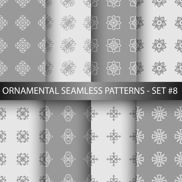 weiß ornament nahtlose Muster grau