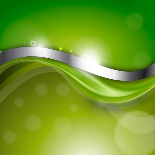 Green Abstract Background With Silver Wave Vector Welovesolo
