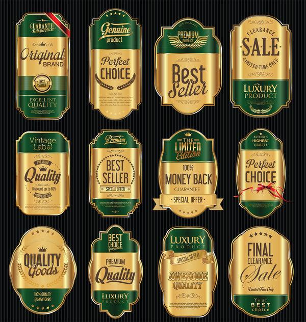lyx guld grön etiketter