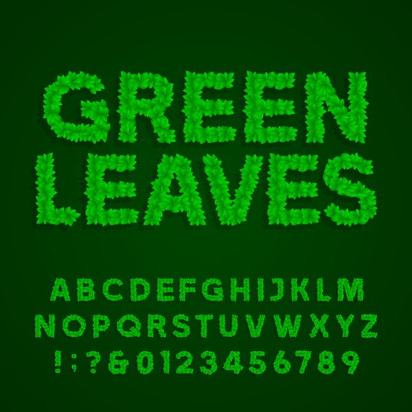 nummer grün Blätter alphabet