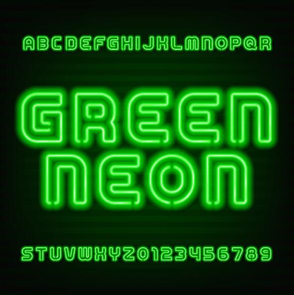 verde neon numero Alfabeto