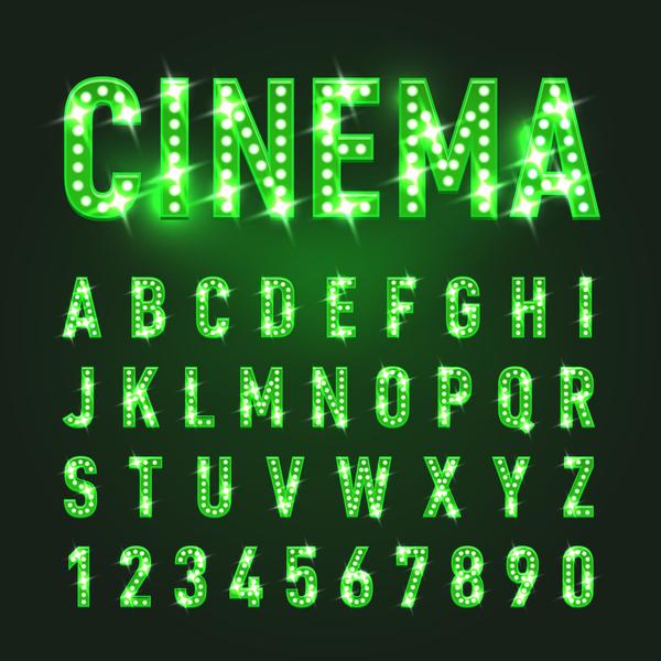 verde numero neon luci Alfabeto