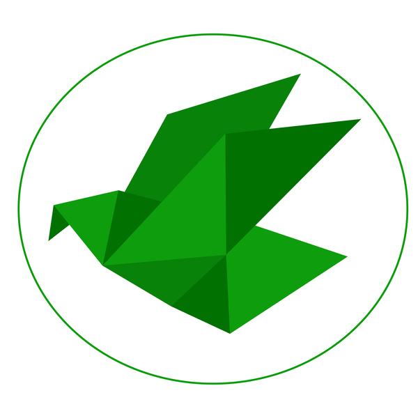 origami green bird