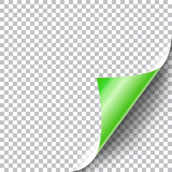 vert Papier enroulée dans les coins
