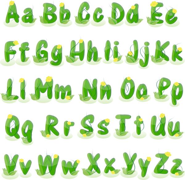 、アルファベット、花、緑、植物