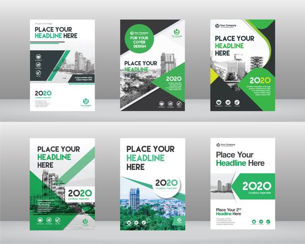 verde stili di copertina flyer brochure
