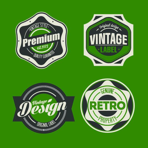 vintage Svart grön etiketter
