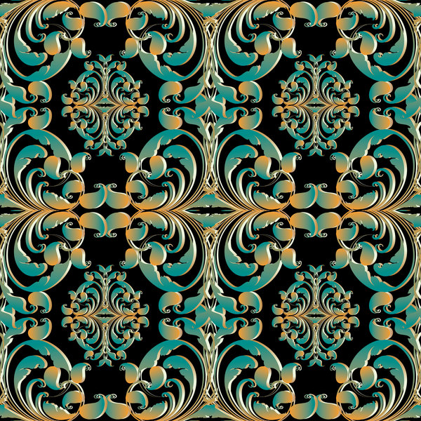 vert sans soudure rétro polices pattern or