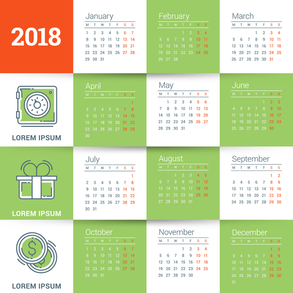 vit Kalender grön 2018
