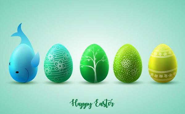 、イースター、卵、緑、黄色
