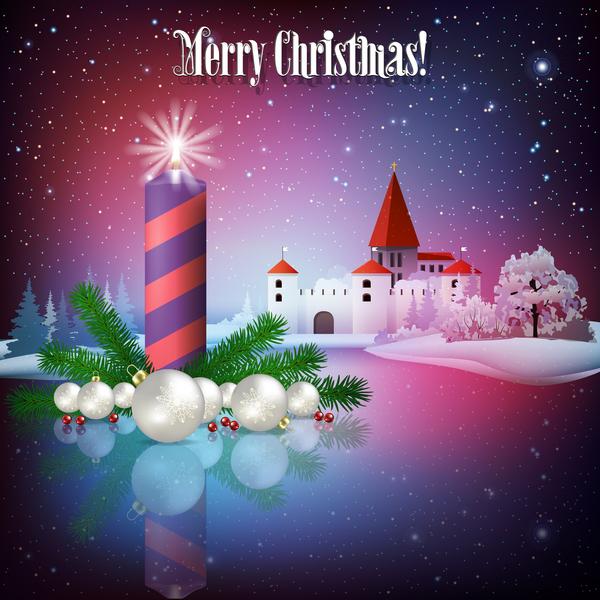 、キャンドル、カード、城、クリスマス、グリーティング