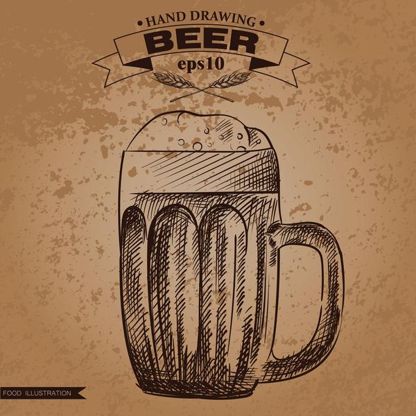 、ビール、グランジ、手