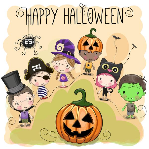 kids halloween cartone animato carino