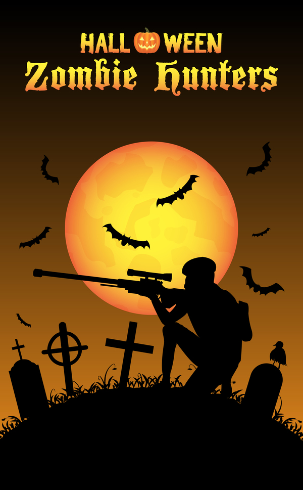 zombie jägare halloween affisch