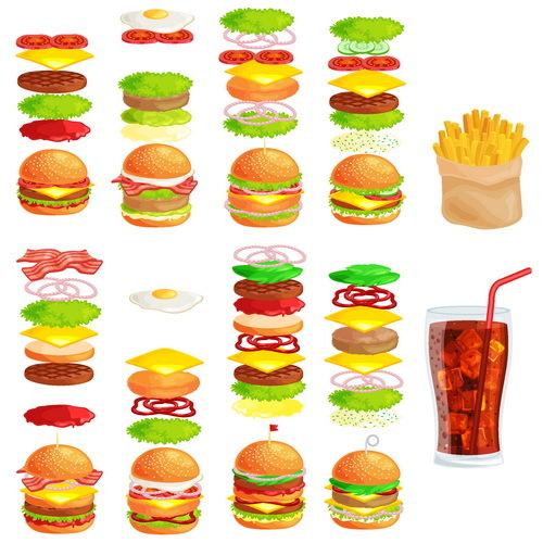 Pommes frites hamburger Getränk