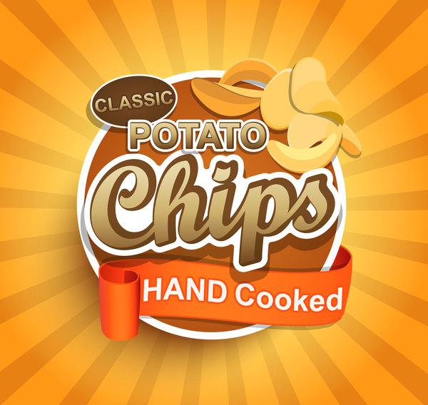 potatis kokta hand etikett chips