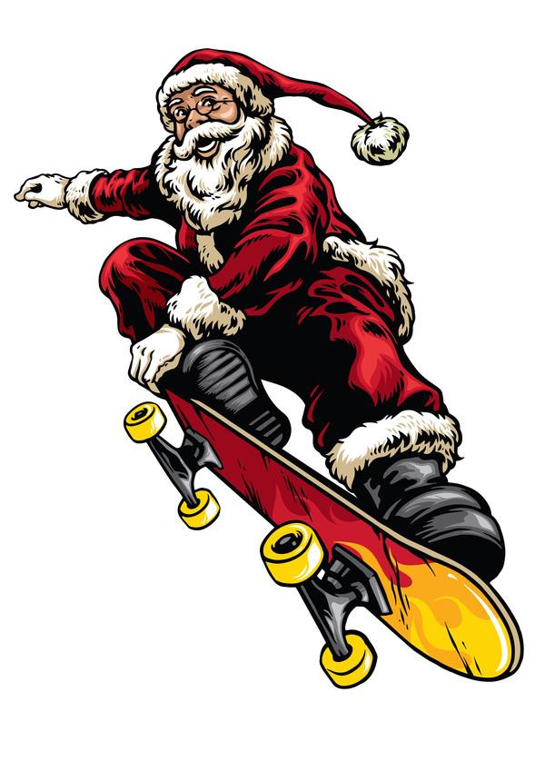 Zeichnung Stil skateboard santa Reiten hand
