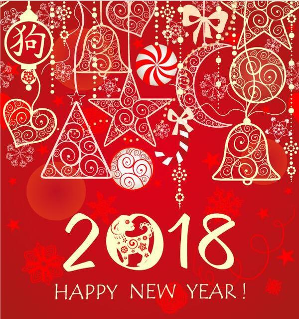 Neu Jahr hand gezeichnet 2018
