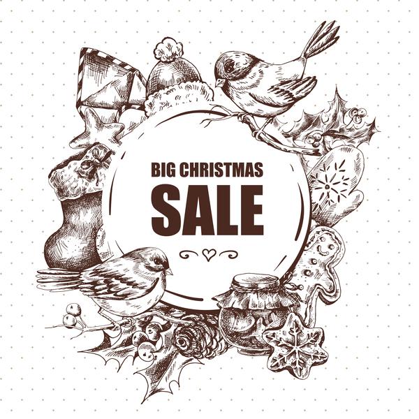 vendita Natale mano grande disegnata