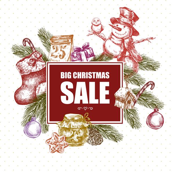 Weihnachten Verkauf hand gros gezeichnet