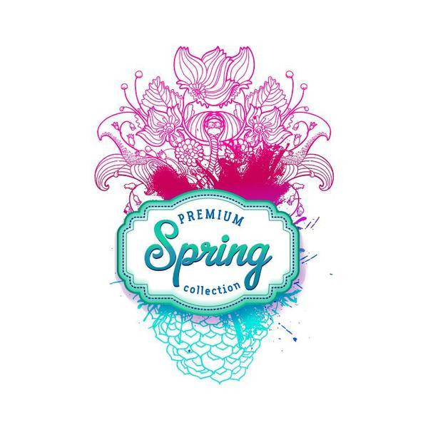 printemps fleurs etiquette Dessinés à la main