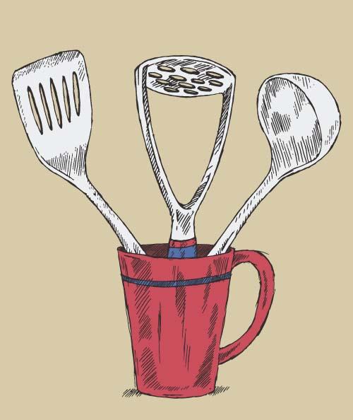 utensils kitchen hand drawn