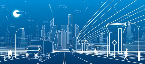 Stadt Linien Landschaft hand gezeichnet