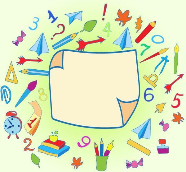Papier elements école dessinés blancs À la main
