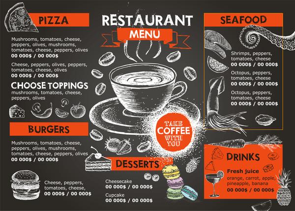 menu main fruits de mer dessiné