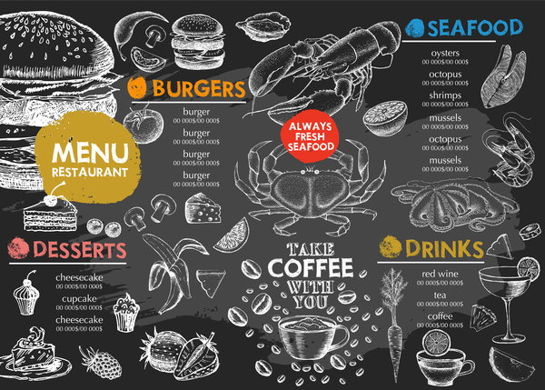 menu Meeresfrüchte hand gezogen