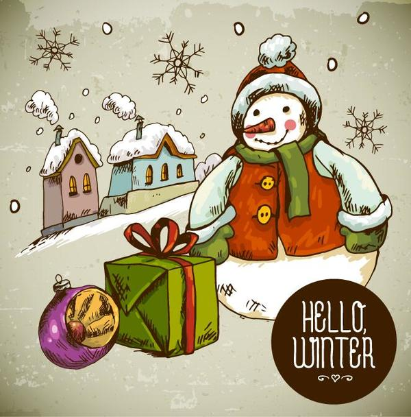 Weihnachten Schneemann hand gezeichnet Geschenk Feld