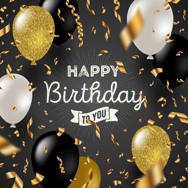 vit Svart happy gloden Födelsedag ballonger