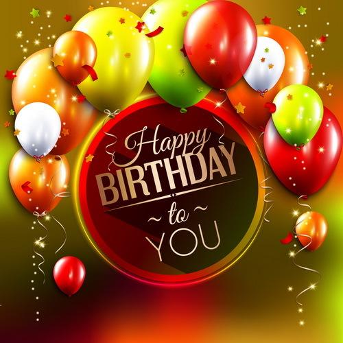 kort Konfetti happy Födelsedag färgade ballong