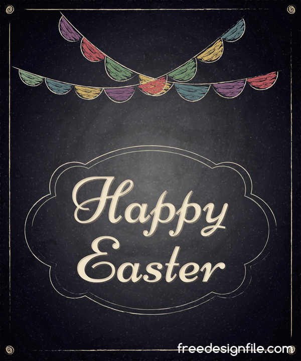 Tafel Rahmen Ostern happy