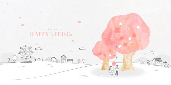 、幸せな、ライン、春