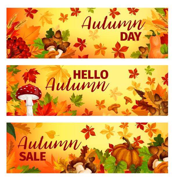 、バナー、秋収穫