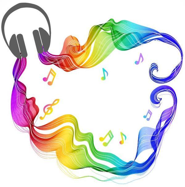、色、ヘッドフォン、音楽、波