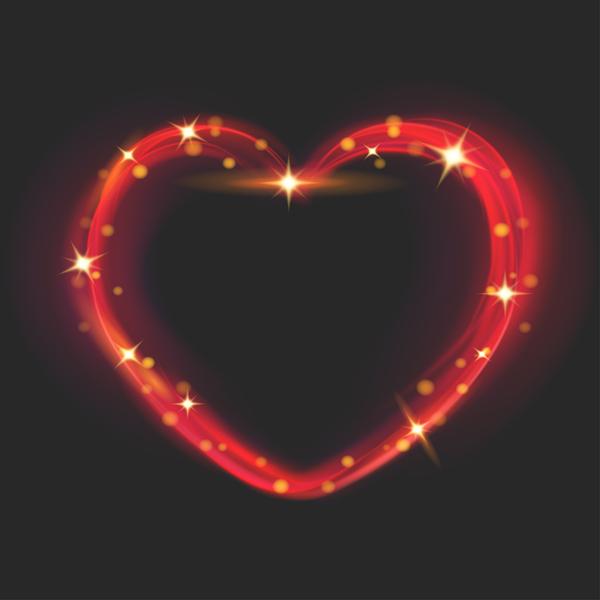 、効果、心臓、光、形
