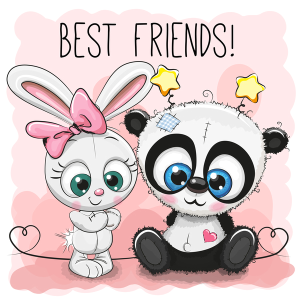 panda dessin animé cute Coeur