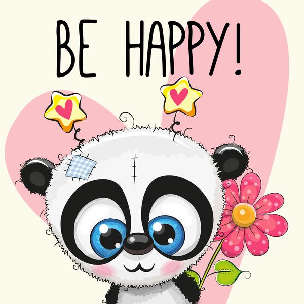 panda cute cuore cartoni animati