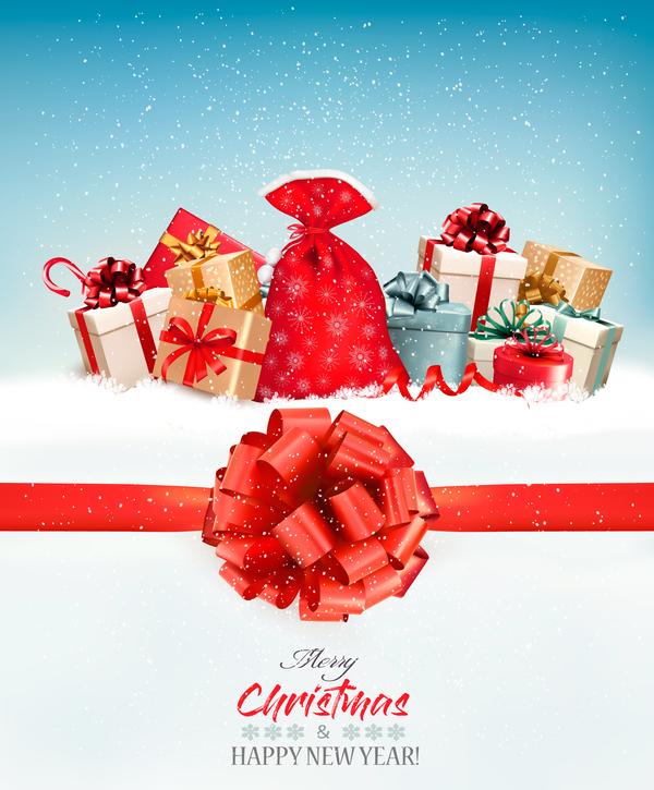 vacances rouge colorful cadeaux boîtes arc