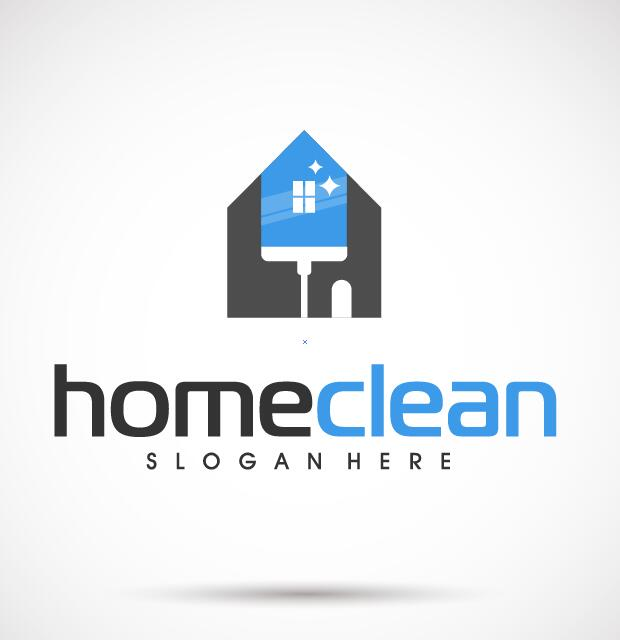 、きれいな、家、ロゴ
