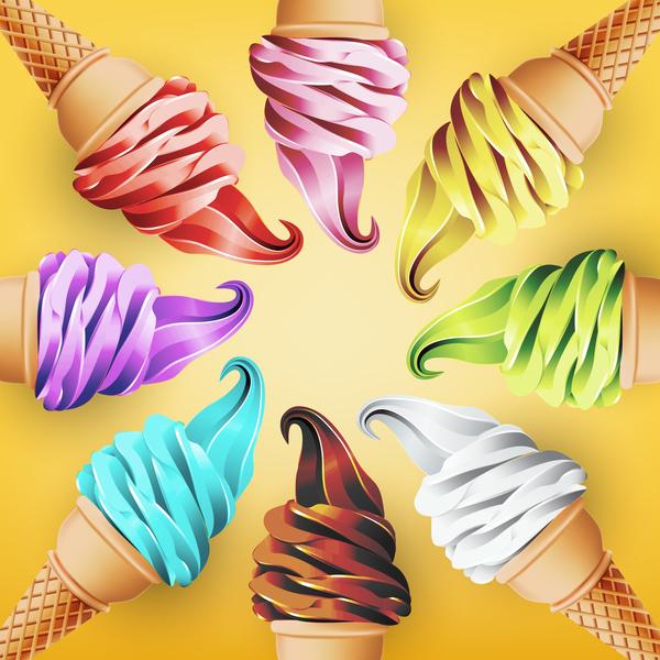 Melting Ice Cream Simple Wallpaper Designs: Â�イス Â�リーム Ã�ザイン背景 01