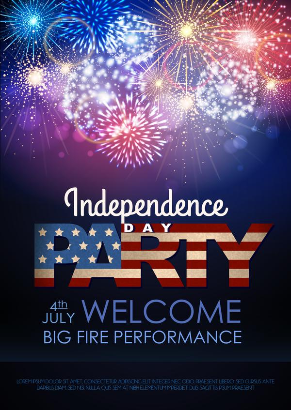 självständighet party fyrverkerier dag affisch
