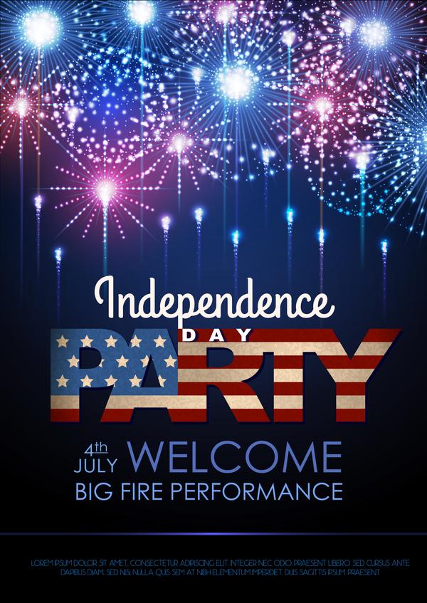 poster giorno dell'indipendenza fuochi d'artificio festa