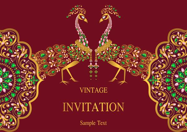 vintage stile Karte Indien Einladung