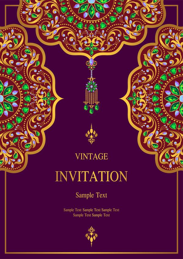 vintage stilar kort Indien inbjudan