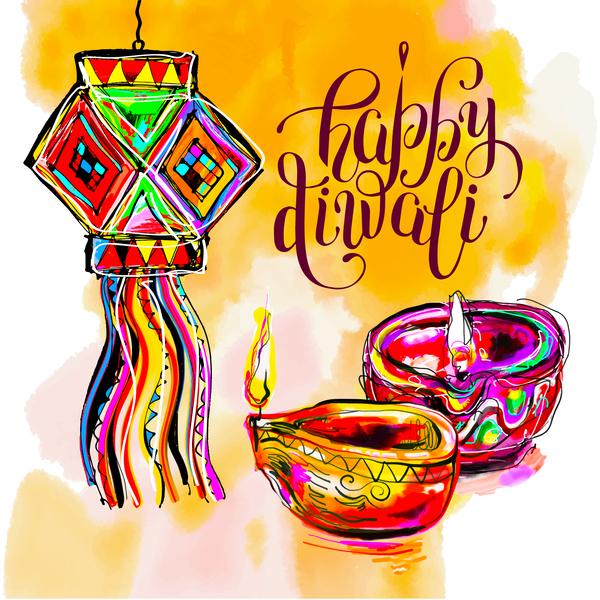 Indisch happy hand gezeichnet Feiertag Diwali