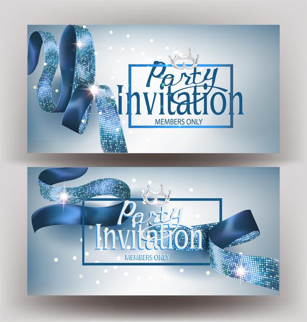 Seide Einladung blau banner Bänder